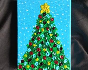 Christmas Tree Painting - Christmas Home Decor - Holiday Art -Christmas Gift  - Textured Painting 5 x 7 Christmas Painting