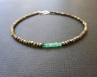 Emerald and Pyrite mens beaded bracelet, Sterling Silver clasp, Gemstone Bracelet