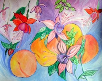 """Fuscias and Peaches - Prisma pencils and Watercolors on Bristol Paper 10"""" x 14"""""""