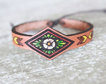 Leather Bracelet - Boho Leather Cuff - Leather Bracelet- Leather Cuff- Turquoise - Handpainted - Bohemian/Gypsy/Hippie