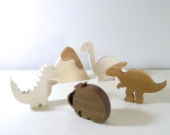 Wooden toys Dinosaurs and wooly mammoth //  Baby wooden toys // Natural Organic Toys // baby gift // Christmas Gift