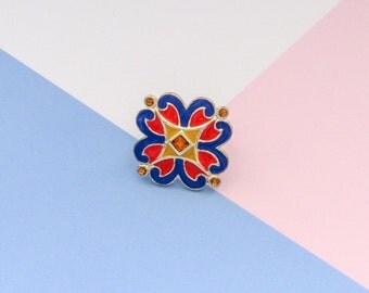 LOULOU de la FALAISE statement enamel flower ring (1990s)