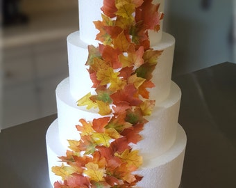 Edible Cake Decorations - Fall Leaves, Wafer Paper Toppers for Cakes, Cupcakes or Cookies- Color on Both Sides