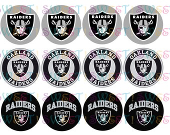 Edible Oakland Raiders  Cake, Cupcake, Cookie,  Oreo or Drink Toppers - Wafer Paper or Frosting Sheet.