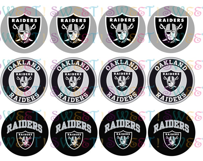 Edible Oakland Raiders Cupcake, Cookie or Oreo Toppers - Wafer Paper or Frosting Sheet