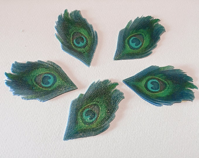 Edible Peacock Feathers, Double-Sided Wafer Paper Toppers for Cakes, Cupcakes or Cookies