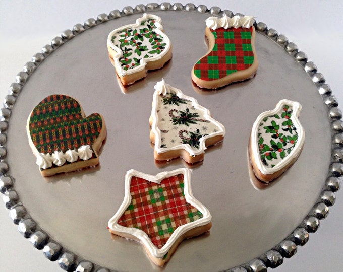 Edible Christmas Plaid, Holly, Tree, Knitted or Snowflake Pattern Sheet - Wafer Paper or Frosting Sheet
