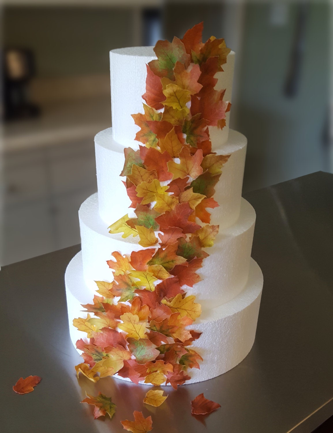 edible wedding cake decorations 2 edible cake decorations fall leaves wafer paper toppers for 3832