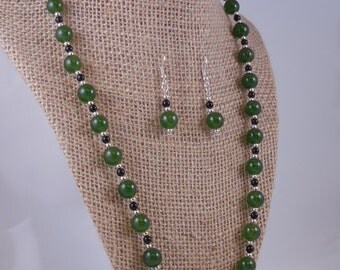 Genuine Jade and Black Onyx Necklace Set