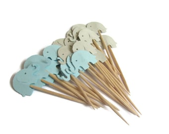 Blue and Grey Elephant Cupcake Toppers,  Baby  Boy Shower Cupcake Toppers, Elephant Toppers, Foodpicks,Baby Elephant