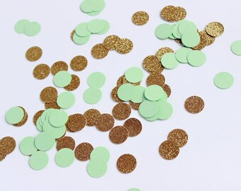 200 pcs Mint Green and Glitter Gold Confetti, Bridal Shower, Wedding Confetti, Table Scatter, Mint and Gold Dots Confetti