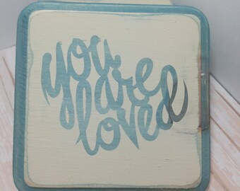 You Are Loved Wood Sign | Accent Piece | Gallery Wall Wooden Distressed Sign | Clearance