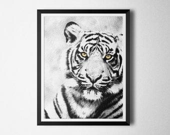 Black & White Tiger Print, Printable wall art decor, Modern Poster, digital print, Instant Download