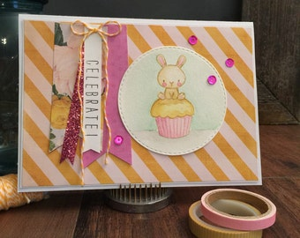 "Hand Stamped ""Celebrate Cupcake"" Birthday Card"