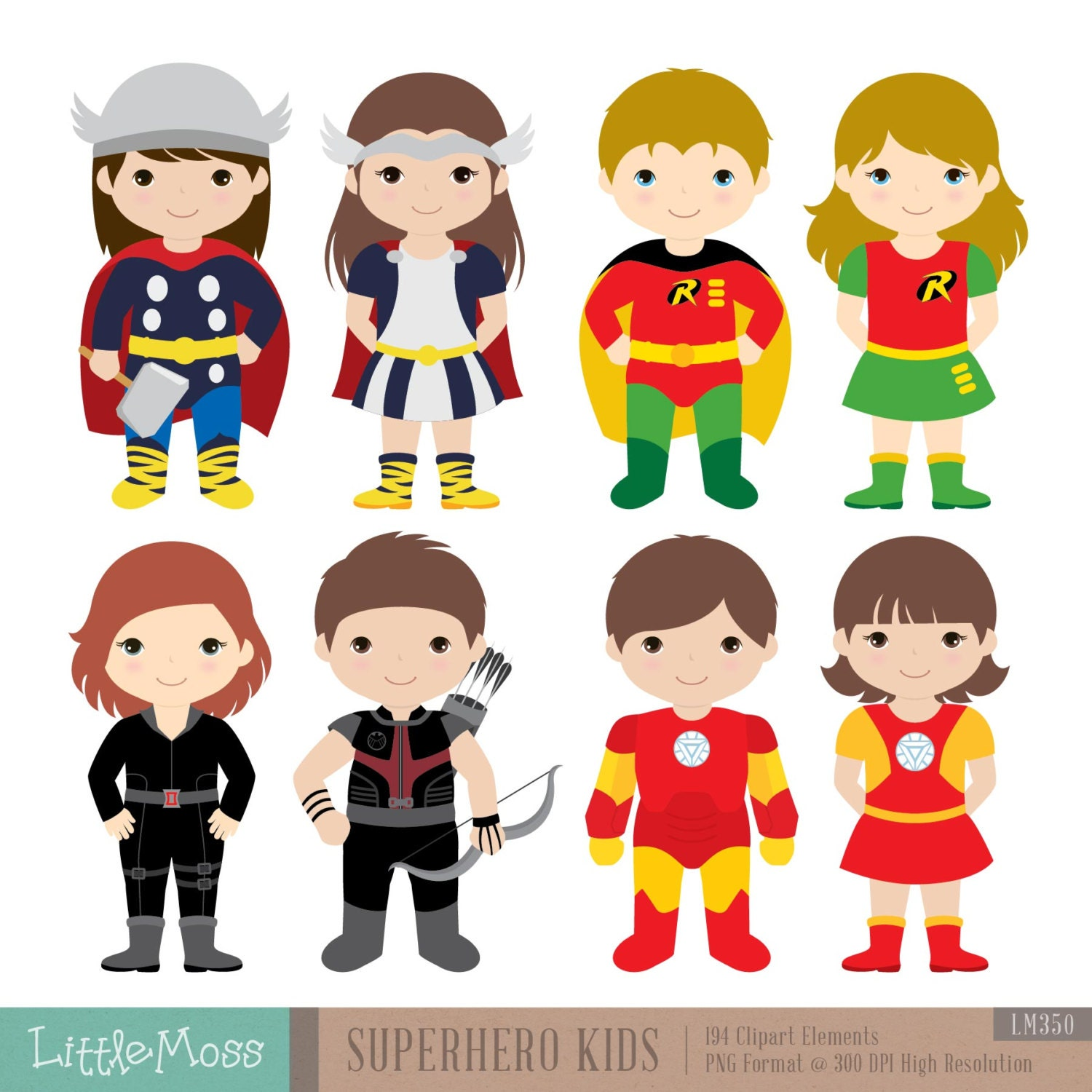 36 Kids Superhero Costumes Clipart Superheroes Kids