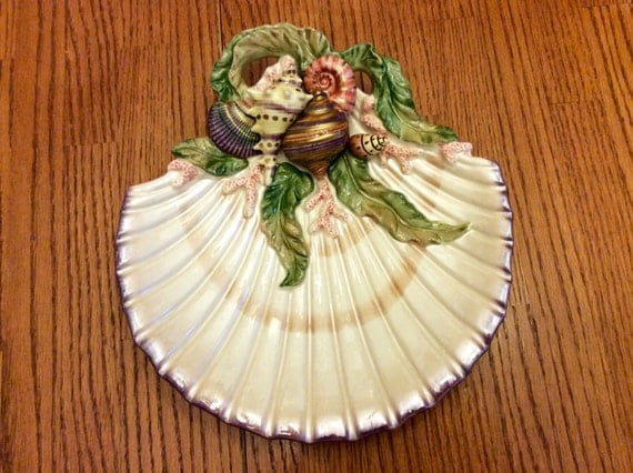 Vintage fitz floyd classics oceana sea shell and coral for Canape shells