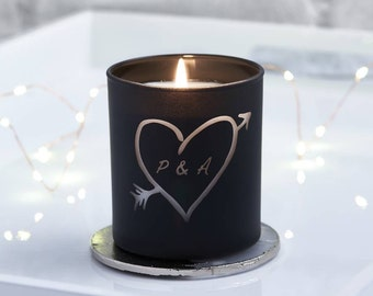 Glow Through Carved Heart Personalised Candle. Carved Heart Personalized Candle. Love Candle. Black Candle. Amber & Vanilla scent