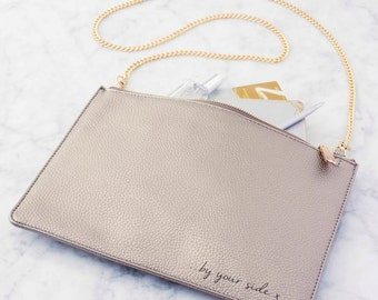 Personalised Metallic Message Bag. Personalized Bag. Chain Strap Bag. Metallic Silver Bag. Metallic Teal Bag. Long Strap Bag. Going Out Bag.