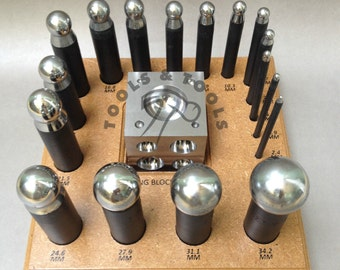 """17 x QUALITY DAPPING PUNCH set steel 2"""" square doming block wooden stand tools"""