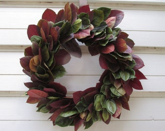 "Preserved Salal (Lemon Leaf) Wreath 16"" Dark Basil Green + Russet Mix Handcrafted for Fall Home Decor, Weddings, Crafts, Holiday, Autumn"