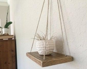 Swing Shelf - Reclaimed Wood - Rope Shelf - Swing Shelf - Floating Shelf - Minimalist shelf