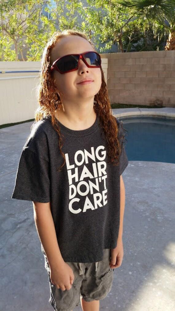 Long Hair Don't Care Kids Shirt - Long Hair Kids Shirt, Youth or Toddler