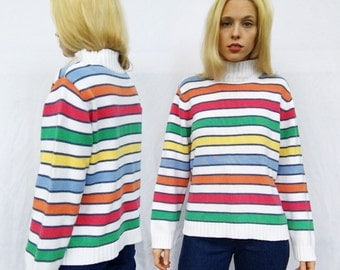 Vintage 90s Tommy Hilfiger White + Pastel Rainbow Striped Long Sleeve Knit Mock Turtleneck Sweater L
