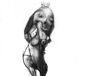 Figurative Charcoal Drawing 'You've Never Taken A Sh*t?' - Giclee Print -