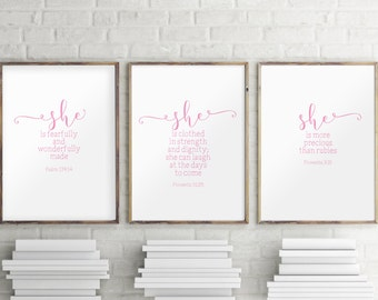 Set of 3 print, Pink art, Scripture art print, Baby girl nursery decor, Nursery wall art, Baby shower gift, Nursery quotes print BD-1042