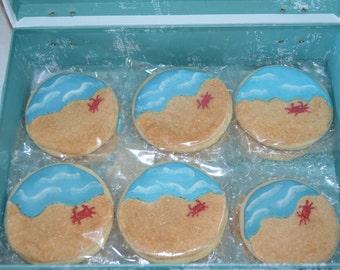 Beach themed sugar cookies, beach wedding cookies, cookie favors