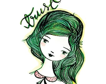Trust, Girl, illustration, Ink, Glicee, Wall, Female Portrait, Drawing, Print, Wall Decor, Green