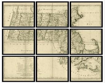 Massachusetts Vintage Map - Set of 9 Prints - Historic Map