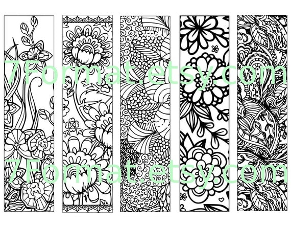 Bookmarks Coloring Printable, scaleable PDF file super quality, Instant Download. 24v.
