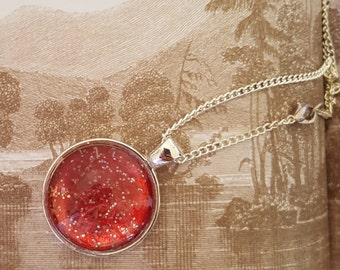 Red Glitter Glass Pendant 25mm