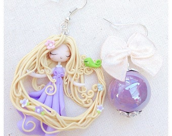 Rapunzel Earring ~ Cute Disney Earrings Fimo polymer Clay Kawaii Chibi Princess Rapunzel Fairy Flowers