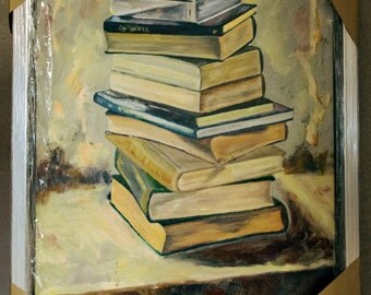Oil still life with books