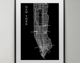 Manhattan Map Print, New York, Street map, City Map Print, Scandinavian poster, Modern art, wall art, Instant Download, Home decor.