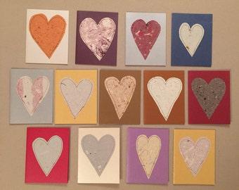 Sewn Hearts Handmade Card Set - Baker's Dozen (13)