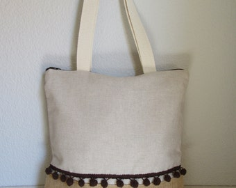 Bag tote made of cotton fabric and sackcloth. Tote Bag.