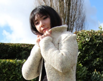 Hand Knitted Cream Chunky Retro 3/4 Jacket. UK Size Small.