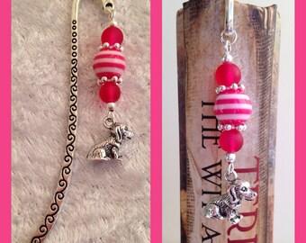 Dark Pink Dog Bookmark