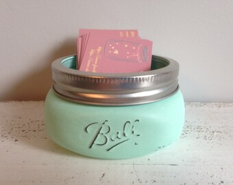 1 CUSTOM Distressed Mason Jar Business Card Holder: You Choose Color