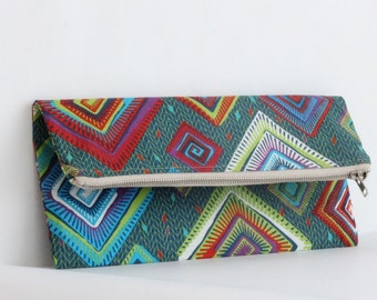 Womens Clutch - Foldover Clutch - Envelope Clutch Bag - Ladies Clutch Purse - Green Clutch Bag - African Print Clutch - Large Zipper Pouch