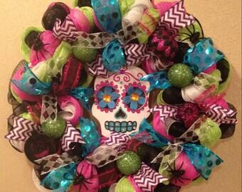 Halloween wreath, Skull Halloween wreath, skeleton face wreath, sugar skull wreath, sugar skull Halloween, Day of the dead