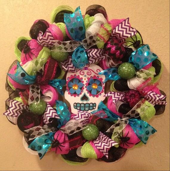 Items similar to Halloween wreath, Skull Halloween wreath ...