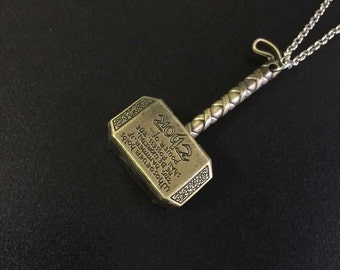 Marvel Avengers Thor's Hammer Mjolnir Necklace
