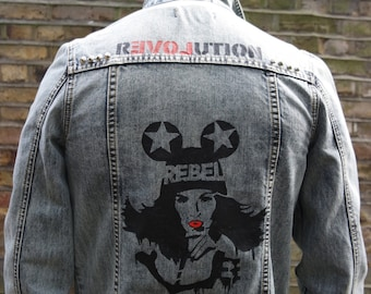 Denim Jacket With Graffiti Print Detail On Back, Size Small
