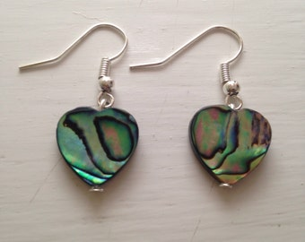 Handmade Abalone/ Paua Shell Earrings With Silver Plated Hooks ~ Dangling Heart Shaped Abalone Shell Earrings