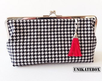 Ironing bag evening bag metal frame clutch pepita 50 s