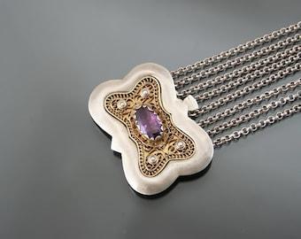 90g Silver 800 Collier De Chien, Choker Baroque Necklace. Amethyst. Oktoberfest Dirndl Schmuck